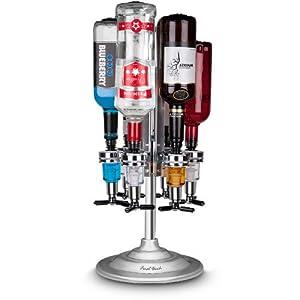 6 Bottle Bar Caddy Liquor Dispenser-Chrome Finish by Final Touch
