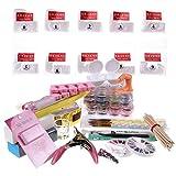 Nail Art kit,SHS® Kit per manicure pedicure unghie ,Pennelli,GEL UV ,Solvente Speciale , Ruota strass, ricostruzione unghie glitter,DIY Nail Art