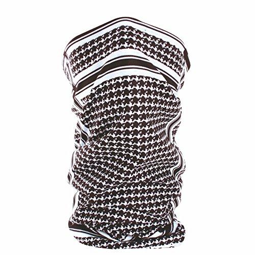 Zan Headgear TF235BW, Motley Tube, Fleece Lined, Houndstooth, Black & Wht