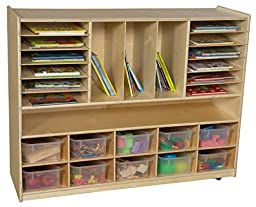 Wood Designs 990202CT Multi-Storage with 10 Translucent Clear Trays