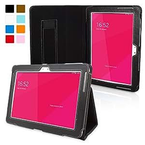 Snugg - Funda de Cuero Negro para Galaxy Note 10.1,  con soporte plegable, correa elástica de mano, lazo para el lapiz stylus y un interior de fibra Nubuck de alta calidad.