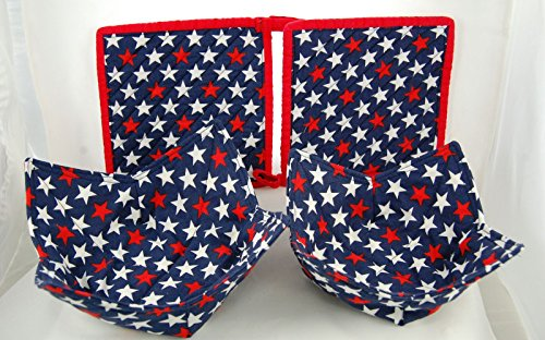 Set Of 2 Quilted Chenille Pot Holders And 2 Fabric Microwave Bowls - Bold Stars - Handcrafted In The Usa - Limited Edition - Handmade Set - Satisfaction Guaranteed