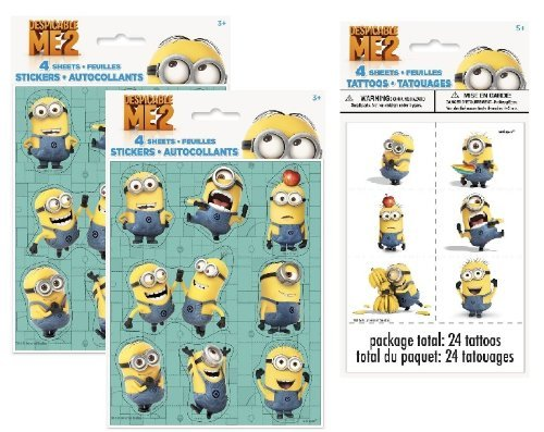 Despicable Me 2 Minions Party Favor Pack for 8 Stickers & Tattoos