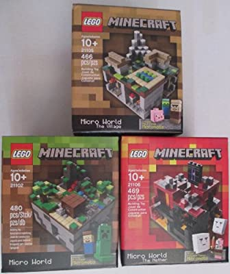 Minecraft Lego Collectible 3 Piece Set - The Original Minecraft 21102 The Village 21105 The Nether 21106 Recommended Age 10-15 Yrs from LEGO