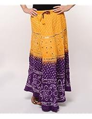 Soundarya Women Cotton Skirts -Yellow -Free Size