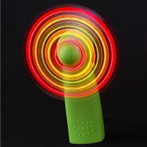 Coffled®1Pc Green Portable Mini Light Up Fans Handheld Fan Led Color Matrix Cooling Cool Light-Up Personal Fan W/ Changing Patterns