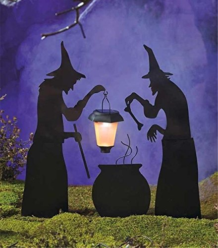 [3-Pc Classical Popular Halloween Yard Signs Solar Lantern Silhouette Holidays Garden Scary Light Style Cauldron Witch with] (Witch Cutouts)
