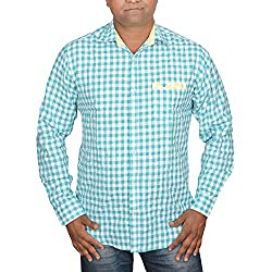Hunk Men's sky white Cotton Shirt