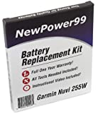 Garmin Nuvi 255W Series (Nuvi 255W, Nuvi 255WT) Battery Replacement Kit with Installation Video, Tools, and Extended Life Battery.