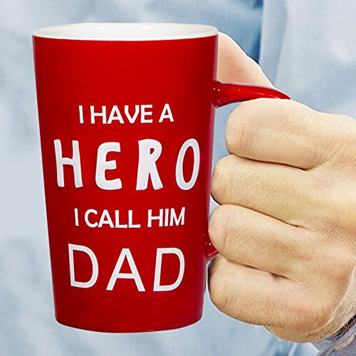 """18 oz Dad Coffee Mug with: """"I Have a HERO I Call Him DAD""""; Gifts for Dad; Birthday Gifts for Dad; Dad Mug; Fathers Day Gifts!"""