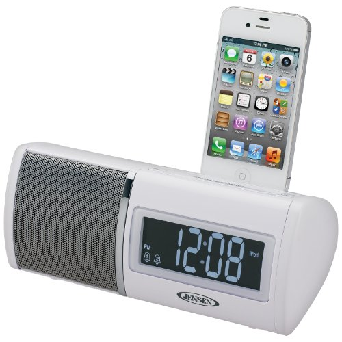 Jensen Jims-75I Universal Ipod/Iphone Docking Digital Dual Alarm Clock Radio, Fm Pll Receiver, Digital Volume Control And Aux Line-In
