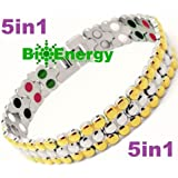 Titanium Magnetic Energy Germanium Armband Power Bracelet Health Bio 5in1 Bio 304 (Color: Gold,silver, Tamaño: Please message us on bioenergy2013@hotmail.com for a query and sizes you need)