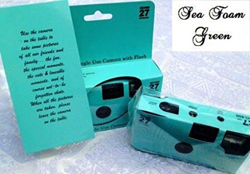 5 Pack of Plain Seafoam Green Disposable 35mm Cameras for Wedding or Any Party, 27exposures, Perfect favor or gift
