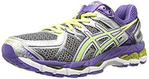 ASICS Women's Gel-Kayano 21 D Running Shoe,Charcoal/Sharp Green/Purple,7 D US