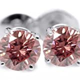 2.00 ctw Pink Diamond Beautiful 14k Gold stud Earrings.