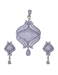 Nimbark Traders Brass And Metal White Color Designer Pendent Set With Earrings For Women - B00RFRH194