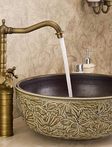 Tao T & T Aufsatzwaschtisch, Spüle Wasserhahn Dual Griffe Waschtisch Armatur Antik Messing