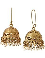 The Jewelbox 18k Gold Plated Dainty Pearl Jhumki Earring For Women