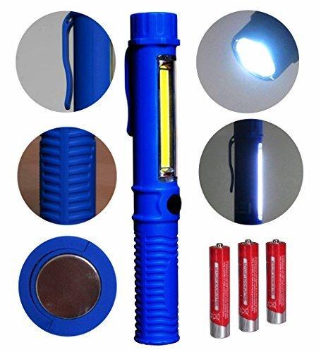 Lavoro luce Torcia LED portatile e COB luce con fissaggio-clip e magnete.Ideale a casa , Auto, Campeggio, Emergency Kit, fai da te e di piu! Ultra-Bright luce di inondazione - Batteria Plus gratis