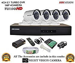 Hikvision CCTV Security System With Turbo DS-7204HGHI-E1 4CH DVR + DS-2CE16COT-IR HD Bullet Camera 4Pcs + 1TB HDD + Active Cable + Active Power Supply Full Combo