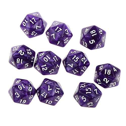 Pack of 10pcs Twenty Sided Dice D20 Playing Dungeons & Dragons D&D TRPG Games Purple