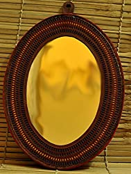 The India Craft House Octagonal Shaped Mirror With Leather Frame (17.5x13.5) LFM1814OT