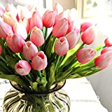 """24pcs 13"""" Artificial Flowers Tulip with Leaves Flower Bouquets Home Wedding Decoration (Pink)"""