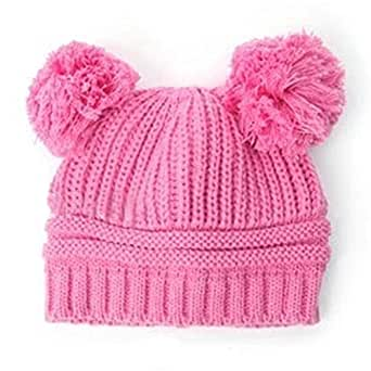 Cute Baby Toddler Girls Boys Dual Ball Wool Knit Hat Beanie Cap