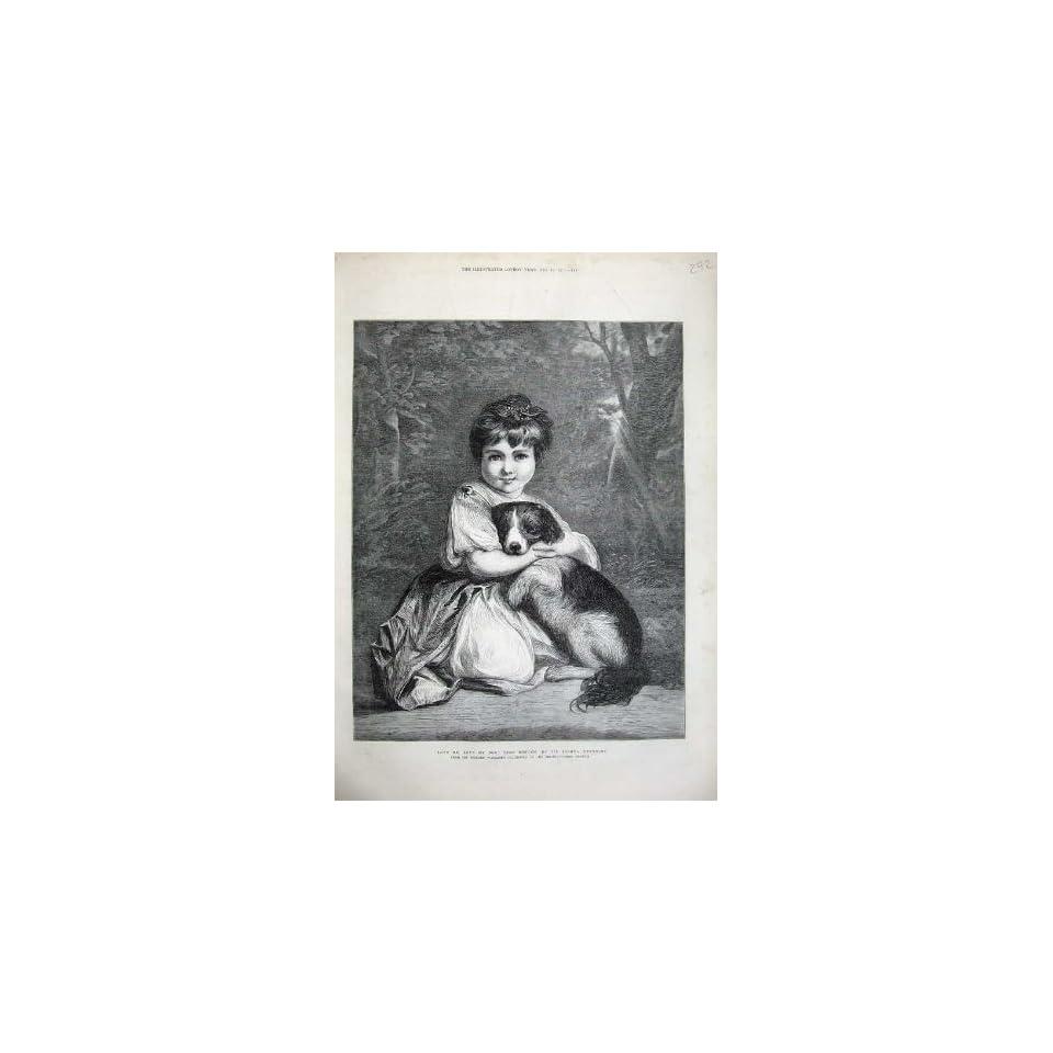 1873 Love Me Dog Miss Bowles Fine Art Little Girl Print