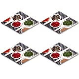 MSD Natural Rubber Square Coasters 4 Pack Per Order assortment mix of colorful spices with chopped parsley mustard seeds green IMAGE 22667704
