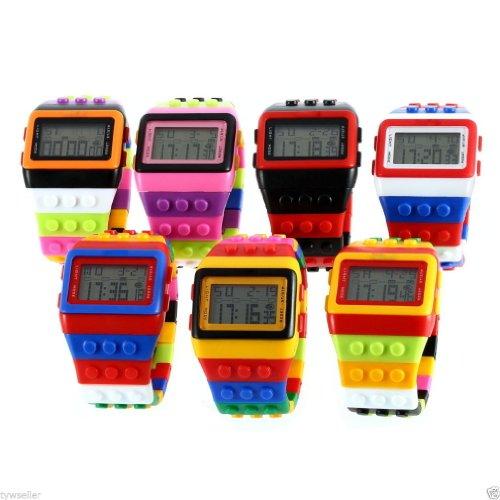 Rainbow Building Blocks Digital Led Light Ladies Men'S Waterproof Sport Watch By Boolavard® Tm Upick (Black & Orange)