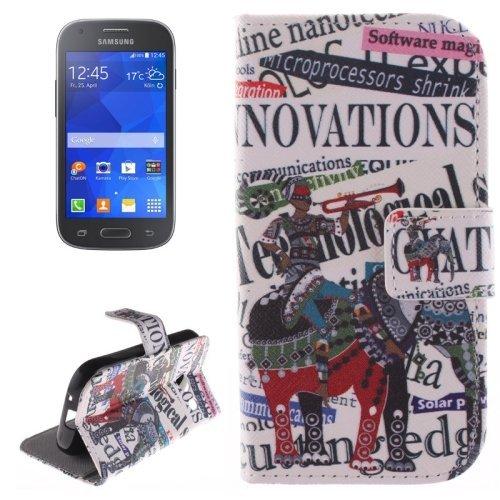 Elephant Rider Pattern Cross Texture Custodia Protettiva Case Cover con Supporto interno & Tasche interne & Portafoglio per Samsung Galaxy Ace Style / G310
