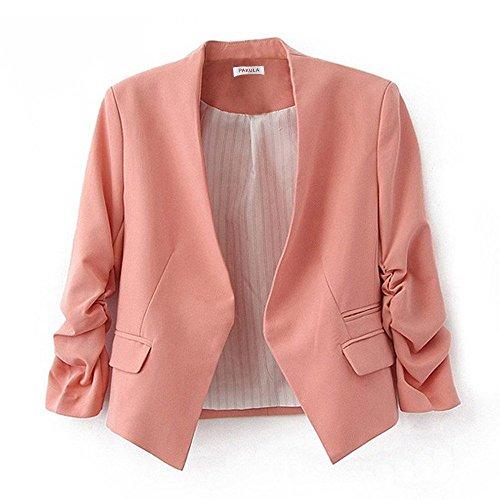 PAKULA Women's Folding Sleeve Office Blazer,Pink,Large