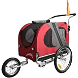 Doggyhut Large Pet Dog Bicycle Trailer & Jogger Stroller in Red 1020201
