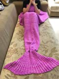 "Kpblis®Knitted Mermaid Blanket Tail for Kids and Adults,Super Soft and Fashion Sleeping Bags 75""*31""(Pink)"