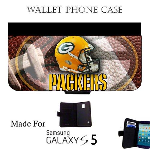 Packers Wallet cell phone Case / Cover Fits Samsung Galaxy S5 Great Gift Idea Green Bay Football by MYDply
