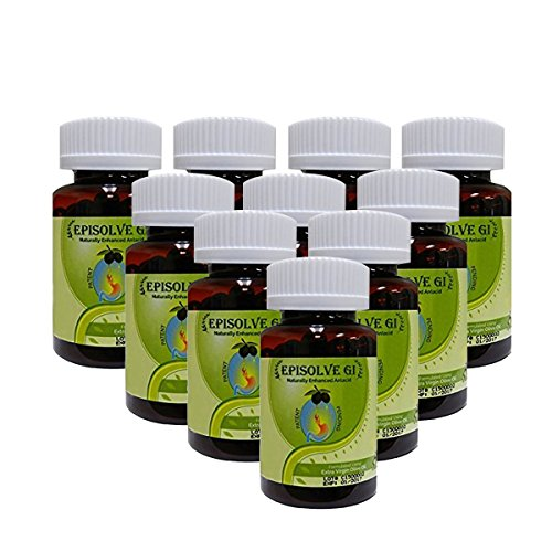 Naturally Immediate Heartburn Relief Naturally Enhanced Antacid (10 bottles/60 capsules per bottle) Episolve GI - Daytime/Nighttime Acid Reflux