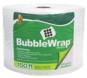 Duck Brand Bubble Wrap Original Protective Packaging, 12 Inches Wide x 150 Feet Long, Single Roll (284054)