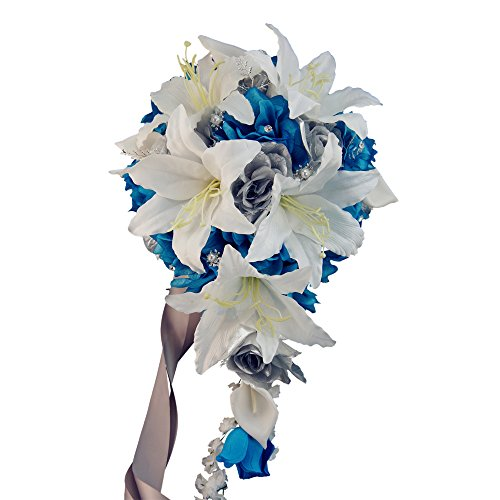 Malibu Turquoise Silver Cascade Bouquet Artificial Flowers,sliver Beads and Accents