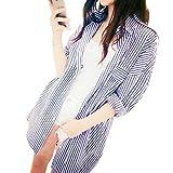 STELLA&CHAM 涼感 ストライプ ダーリン シャツ 長袖 セレカジ 羽織り 彼着風 オーバーサイズ 0096 ストライプブルー