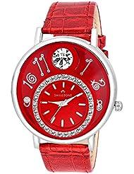 Swisstone VOGLR321-Red Dial Black Leather Strap Analog Wrist Watch For Women