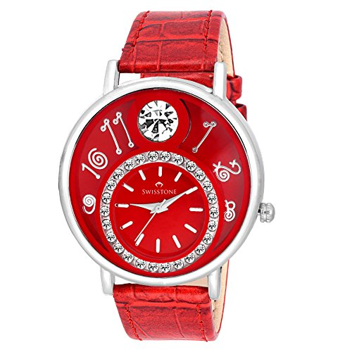 Swisstone VOGLR321-Red Dial Black Leather Strap Analog Wrist Watch For Women