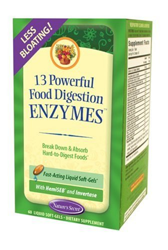 Nature's Secret 13 Powerful Food Digestive Enzymes, 60 Soft-Gels