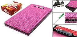 Gino Hollow Hole Design 2.5'' SATA Hard Drive USB External Enclosure Case Pink
