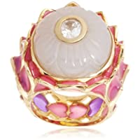 [アイシャーヤ] Isharya pink purple lotus statement enamel ring; carved white chalcedony, cz, pink and purple stretch...