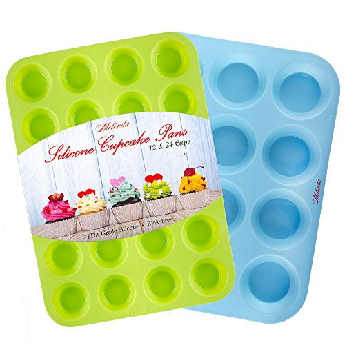 Silicone Mold Cupcake Pan by Melinda - Muffin Tin set of 2 Baking Pans - Large Muffin Top Pan 12 cups - Mini Muffin Pan 24 cup - Non Stick Bakeware Molds (Lumina Oven compare prices)