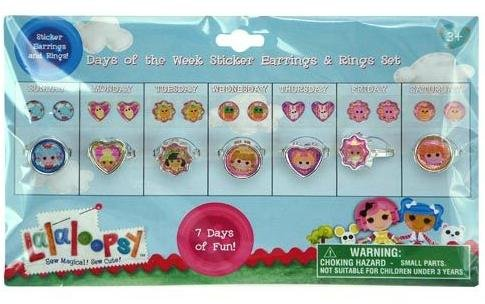 Lalaloopsy sticker Earrings and Ring Set - Days of the week