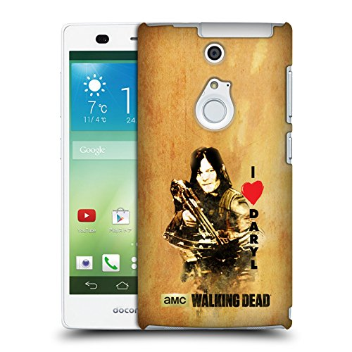 Ufficiale AMC The Walking Dead Daryl Arco Tipografia Cover Retro Rigida per Fujitsu Arrows NX F-01F
