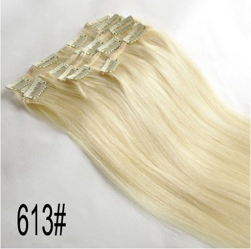 """28"""" Clips In Remy Human Hair Extension Attach Straight 613 Light Blond 120G"""