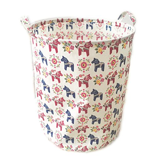 ECOHIP Large Storage Bin Swedish Dala Horse Fabric - Toy Box/ Toy Storage/ Toy Organizer for Boys and Girls - Kids Laundry Basket/ Nursery Hamper (Corner Storage Bin compare prices)